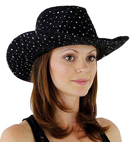 - Glitter Sequin Trim Cowboy Hat Black One Size