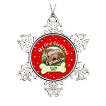 Dog My First Christmas Red and Green Pet Photo Ceramic Round Christmas Ornament