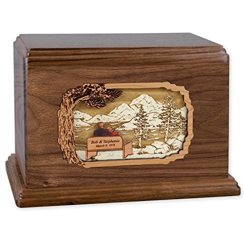 Soulmates Together Forever Wooden Companion Cremation Urn for Two People – Wood Art Inlay Funeral Urn with Couple Together Again on Bench Companion Urn for Two People, Walnut CUSTOM