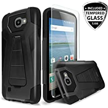 For LG Optimus Zone 3/LG Spree/LG Rebel VS425/LG K4 L44VL Case With TJS® Tempered Glass Screen Protector Included, Dual Layer Shockproof Hybrid Armor Drop Protection Built-in Kickstand (Black/Black)