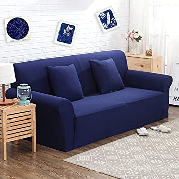 Jacquard Knited Sapphire Blue High Elasticity Thicken Fabric Sofa Slipcover  Couch Cover Protector For Three