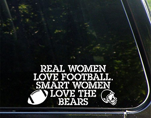 "Real Women Love Football. Smart Women Love The Bears - 8-1/4"" x 3-1/4"" - Vinyl Die Cut Decal/ Bumper Sticker For Windows, Cars, Trucks, Laptops, Macbooks, Etc."