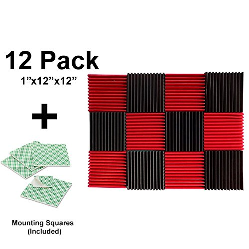12-pk-1x12x12-red-char-soundproofing-foam-acoustic-tiles-studio-foam-sound-wedges-with-24-double-sid