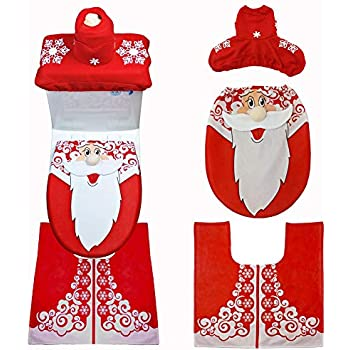 Cool Amazon Com Ohuhu Santa Toilet Seat Cover 4 Piece Christmas Pabps2019 Chair Design Images Pabps2019Com