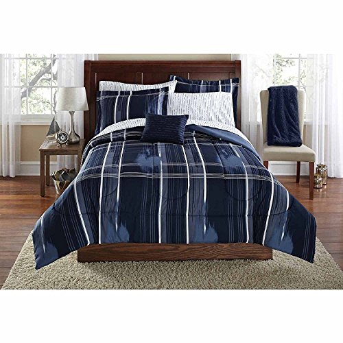 Mainstays Teen Modern Geometric Plaid Navy Blue Reversible Bedding Queen Comforter for Boys (8 Piece in a Bag)