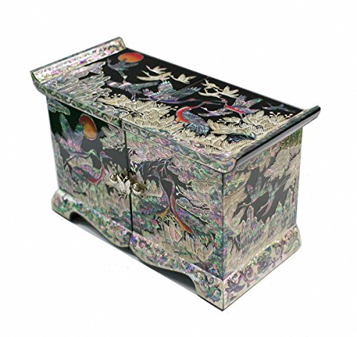 Jmcore Mother of Pearl Crane Pine Tree Design Jewelry Box Display Nacre Handcrafted Jewellry Case by JMcore Jewelry Box
