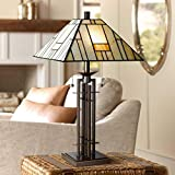 art deco style Tiffany Style Table Lamp Art Deco Wrought Iron Bronze Stained Glass for Living Room Family Bedroom Bedside - Franklin Iron Works