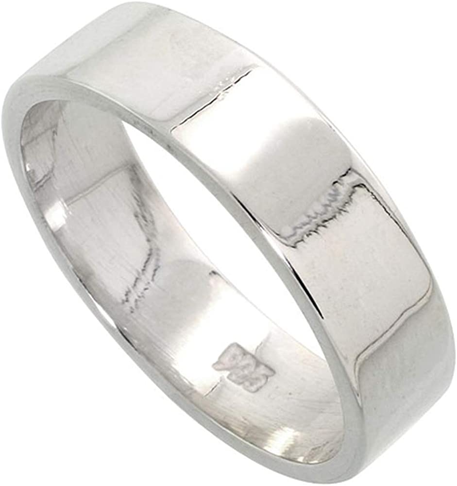 Plain Sterling Silver 6mm Flat Wedding Band Ring for Men and Women Pipe Cut High Polished Handmade, Sizes 5-14