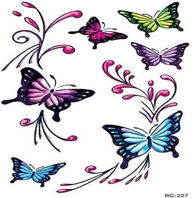 iqueta Engomada Del Tatuaje Tridimensional Color Mariposa Pegatina ...