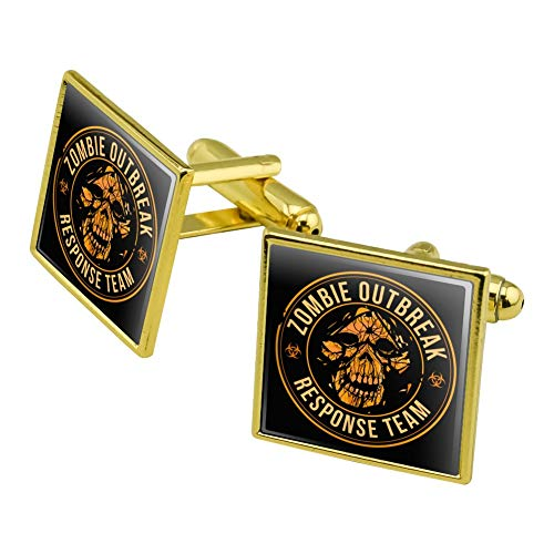 Graphics and More Zombie Outbreak Response Team Skull Yellow Circle Square Cufflink Set Gold Color (Square Circle Link)