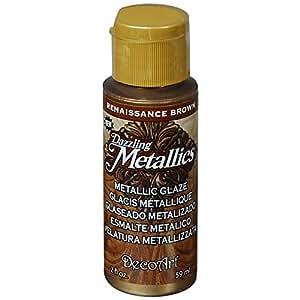 DecoArt Dazzling Metallics Glazes Paint, 2-Ounce, Renaissance Brown
