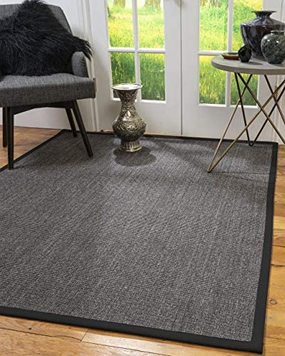 Natural Area Rugs 100 Natural Fiber Handmade Shadows, Greyish Blue Sisal Rug, 5 x 7 Black Border