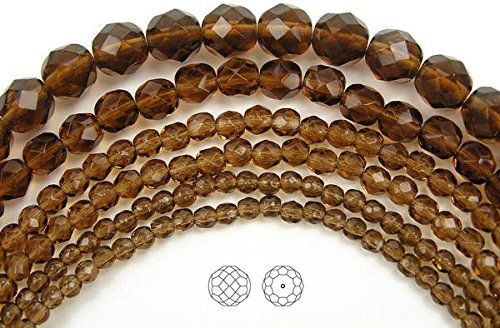 Topaz Round Firepolish Glass Bead - 8mm (51 beads) Smoked Topaz, Czech Fire Polished Round Faceted Glass Beads, 16 inch strand