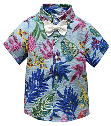 Print Boys Tie - Boy's Short Sleeves Button Down Shirt, Aloha Hawaiian Floral Print Tuxedo Dress Shirt with Tie for Little Boy & Toddlers, S01 Blue, 4-5 Years = Tag 130