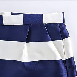 Veri Gude Women\'s European Fashion Casual Striped Shorts (S, Blue)