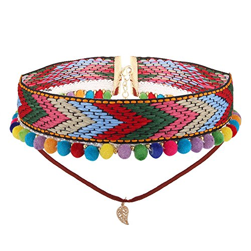 Kissweet Bohemian Colorful Pompom Balls Weaving Embrodered Double Layered Leaves Pendant Choker Necklace (Multi Color)
