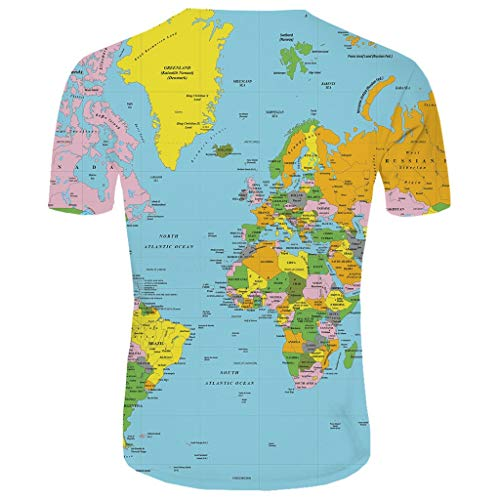 Unisex Short Sleeve 3D Digital World Map Printed Personalized T Shirts Tees Animal Space Cool Casual Couple Top Blue (Frame Necklace Digital Picture)