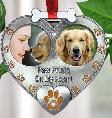 Dog Memorial Double Photo Frame Ornament Pewter
