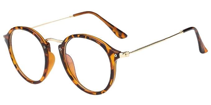 8eabd3246fc37 BOZEVON Lentes Claro Anteojos Transparentes - Redondo Ultrafino Marco de  Metal Gafas de Lectura Decoración Retro