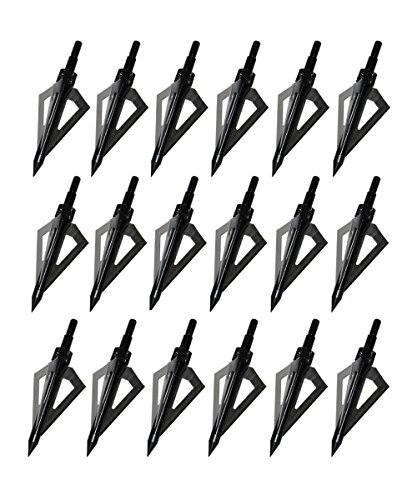 Huntingdoor 18 Pack Black 3 Fixed Blade Broadheads 100 Grain Screw-In Arrow Tips for Crossbow and Compound Bow