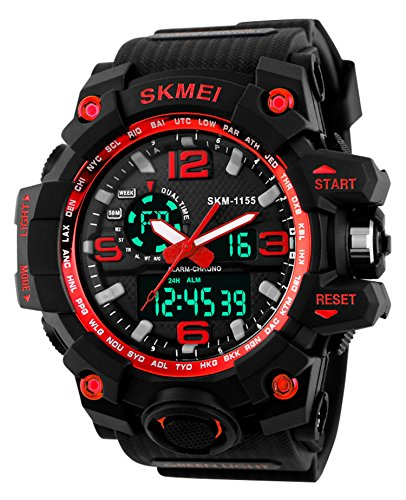 Super Cool Outdoor Sports Led Digital Watch S SHOCK Men Military Army Watch 164FT 50M Water Resistant (Red)