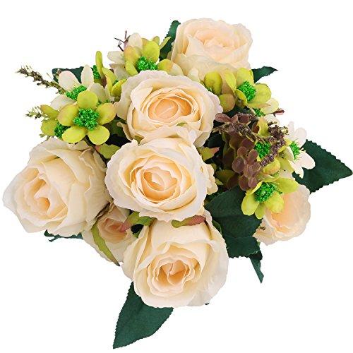 Artificial Flowers Bouquet Arrangement Champagne