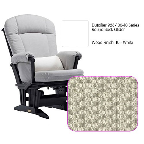 Dutailier 926 Series Round Back Maple Glider in White With Cushion - Glider Maple Back