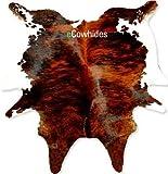 Brindle Cowhide Rug Cow Hide Skin Leather Area Rug on SALE: Large
