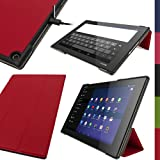 "iGadgitz Premium Red PU Leather Smart Cover Case for Sony Xperia Z2 Tablet SGP511 10.1"" with Auto Sleep/Wake + Multi-Angle Viewing Stand + Screen Protector"