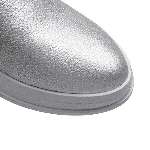 AgooLar Damen Rund Schließen Zehe PU Niedriger Absatz Ziehen auf Pumps Schuhe Silber