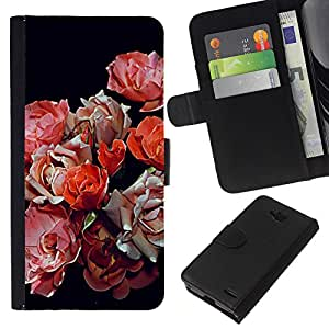 KLONGSHOP // Tirón de la caja Cartera de cuero con ranuras para tarjetas - begonia primavera negras rojas flores de color rosa - LG OPTIMUS L90 //