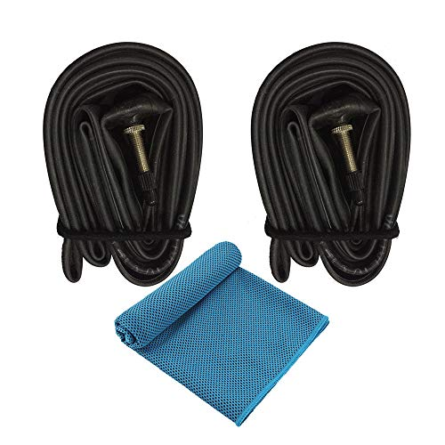 iEllevie 26x1.5/1.75 Threaded Presta Valve Bicycle Tube Inner Tube - Pack of 2 - One Free Cooling Towel