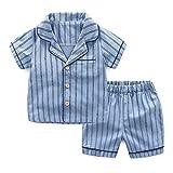 PAUBOLI Boys Button Down Pajamas Set Short Sleeve Organic Cotton Striped Sleepwear Loungewear (6-7 Years)