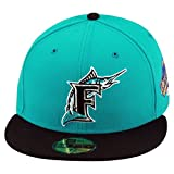 New Era 59fifty Florida Marlins Fitted Hat Cap Teal/Black 1997 World Series Patch