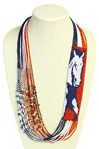 NE700519 Glass Crystal Bead Horse Equestrian Necklace Orange Blue Broncos Denver from Unknown