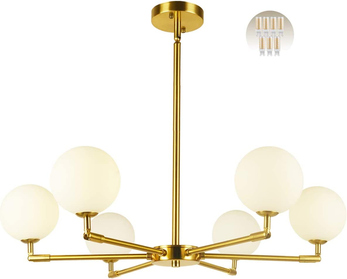 BAODEN 6 Lights Globe Mid Century Chandelier Modern Sputnik Pendant Light Fixture with G9 Bulb Brushed Brass Finished with White Globe Glass Lampshade Dining Kitchen Island Bedroom Lighting Gold