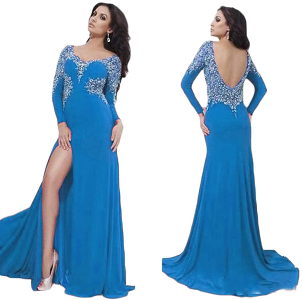 bluee Women's Gorgeous Beaded Long Sleeve Prom Dresses Mermaid Open Back Formal Evening Ball Gowns with Side Slit