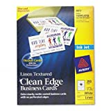Avery - 2 Pack - 2-Side Printable Clean Edge Business Cards Inkjet 2 X 3-1/2 Linen Wht 200/Pk ''Product Category: Paper & Printable Media/Cards & Card Stock''