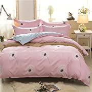 Uozzi Bedding 3 Piece Duvet Cover Set Queen, Reversible Printing with Brushed Microfiber, Lightweight Soft,Easy Care, Simple Comforter Cover 3PC Bedding Set, 30-day Free Return (Pink, Queen)