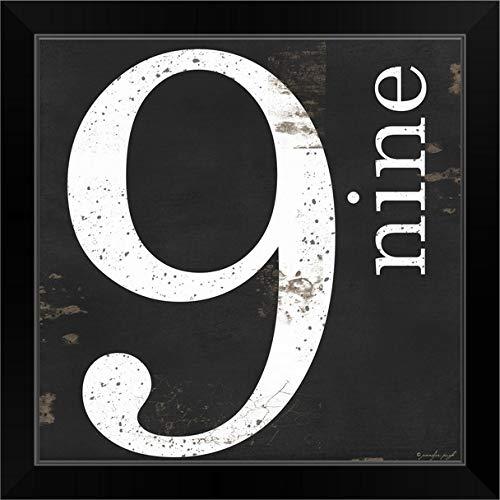 """CANVAS ON DEMAND Farmhouse Nine 9"""" Black Framed Art Print, 19""""x19""""x1"""""""