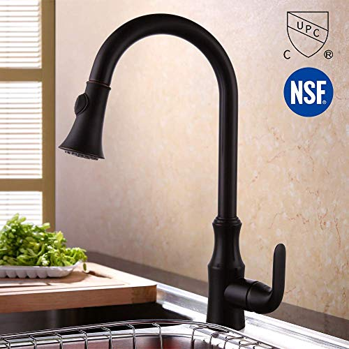 KES cUPC NSF Certified Brass Singel Lever High Arc Pull Down Kitchen Faucet with Retractable Pull Out Wand Swivel Spout, Oil Rubbed Bronze, L6936LF-ORB