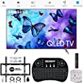 "Samsung 65"" Q6FN QLED Smart 4K UHD TV 2018 Model (QN65Q6FNAFXZA) with Wall Mount Ultimate Bundle Kit for 32-60 inch TVs, Wireless Backlit Keyboard & SurgePro 6-Outlet Surge Adapter"