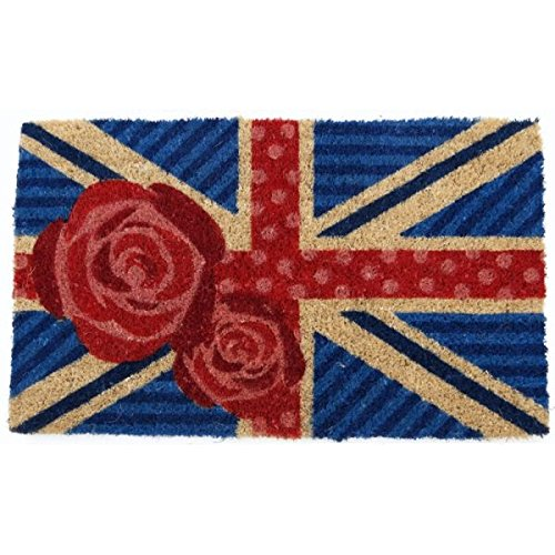 British Rose Mid-Thickness Hand Woven Coir Doormat, 18 x 30 Inch (Coir Mat Rose)