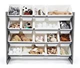 Tot Tutors WO701 Springfield Collection Supersized Wood Toy Storage Organizer, Extra Large, Grey/White