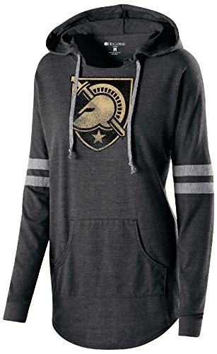 Ouray Sportswear NCAA Army Black Knights Women's Hooded Low Key Pullover Top, Large, Vintage Black/Vintage/Grey Army Grey Hooded Pullover Sweatshirt