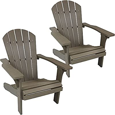 Sunnydaze Outdoor Adirondack Patio Chair, All-Weather Faux Wood Design, Set of 2, Gray - CLASSIC STYLE: Adirondack chairs are 30 inches wide x 31 inches deep x 37 inches tall; 34.8 lbs; Large weight capacity of 300 pounds, making it perfect for most adults ROOMY CURVED SEAT: Spacious and comfortable seating area measures 21 inches wide x 19 inches deep x 13.5-inch seat height from the ground; 0.5-inch slat gaps; Seat back: 19 inches wide x 32 inches tall; Arm dimensions: 4.6 inches wide x 28.25 inches deep x 21.5 inches from ground BEAUTY OF WOOD WITHOUT MAINTENANCE: Top quality polyethylene is waterproof and weather-resistant so it doesn't require sealing or staining with a wood-like design gives you the best of both worlds - patio-furniture, patio-chairs, patio - 51NlWSVEWkL. SS400  -