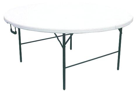 Tavoli Rotondi Pieghevoli Prezzi.Tavolo Tavolino Rotondo Pieghevole Xl Richiudibile Resina Hdpe Bianco 160xh74