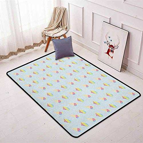 Ice Cream Regional Round Carpet Pastel Colored Hipster Pattern with Abstract Ice Cream and Popsicles Summertime Non-Slip Easy to Clean W31.5 x L59 Inch Multicolor