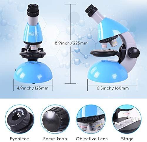 Emarth Mikroskop für Erwachsener Kinder und Schüler, Einsteiger Mikroskop mit 40- bis zu 640-facher Vergrößerung & 50-teiliges Science Kit