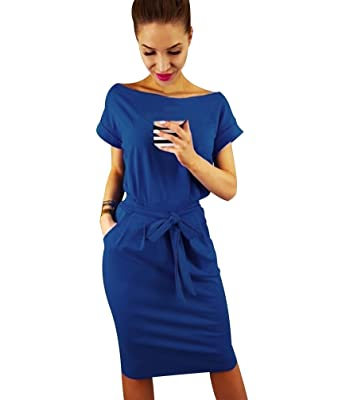 b2be24b826f Robe Courte Femme Robes Tee Shirt Courtes Droite Fluide Robe Chemise Manche  Courte Robe Crayon Occasionnel